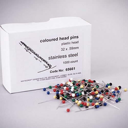 Pins - Coloured Head x 1000 (32mm x .59mm)