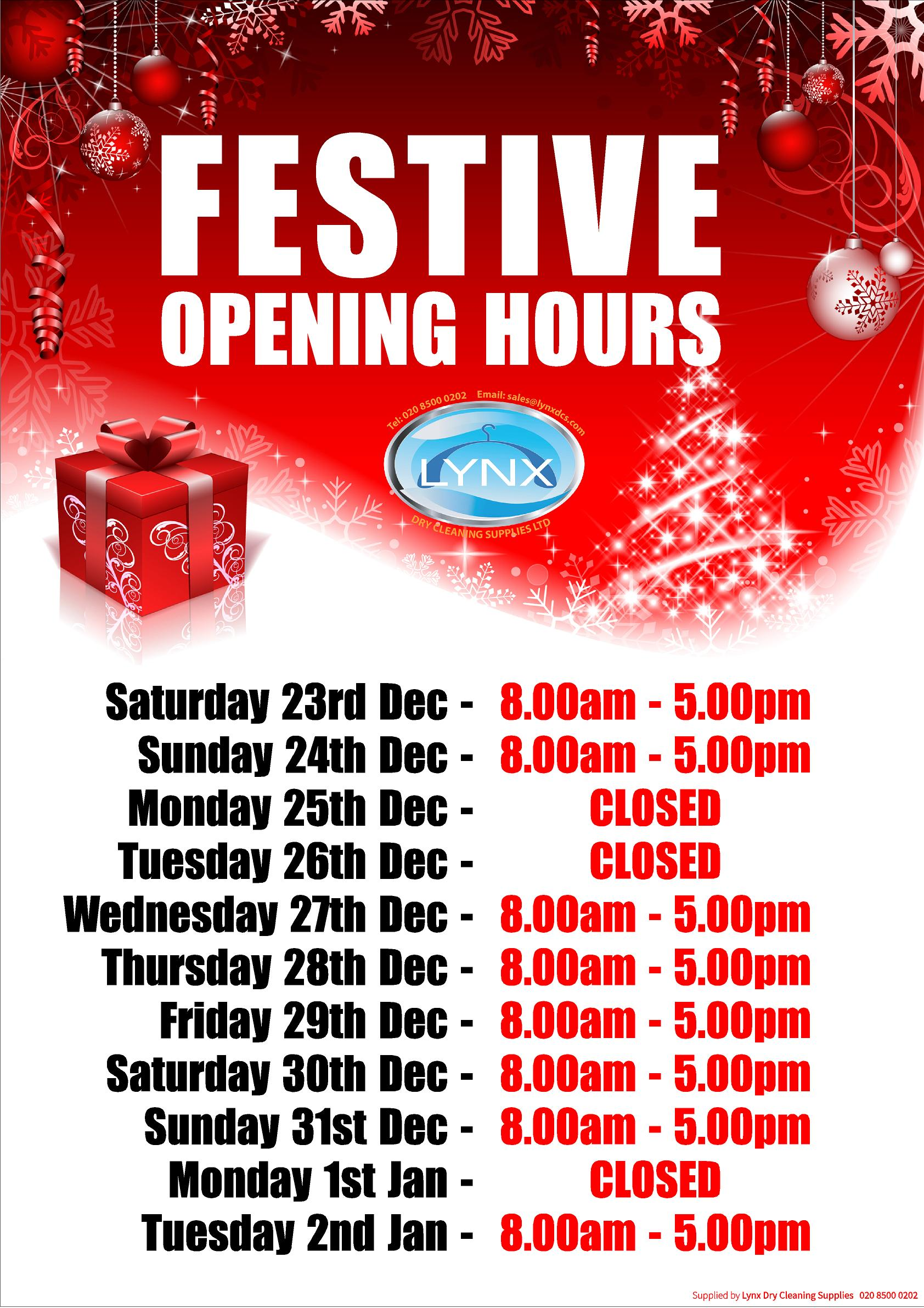 Personalised Christmas Opening Hours Poster Lynxdcs